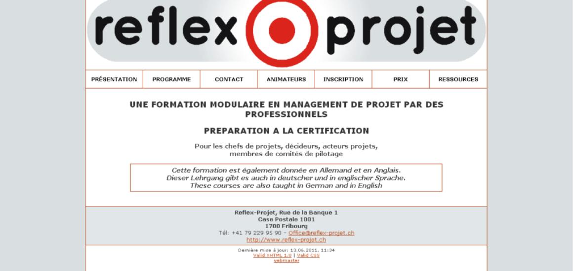Reflex Projet - site développé par eTisse.ch