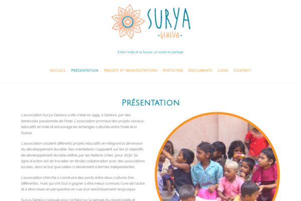 Réalisation WordPress Association Surya-Geneva, Création de site Internet à Genève