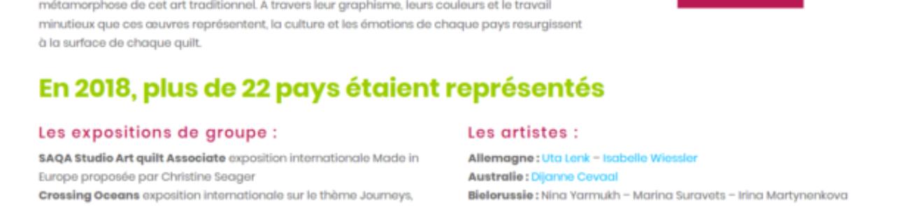 Biennale Internationale d'Art Textile en Beaujolais plus de 20 pays représentés