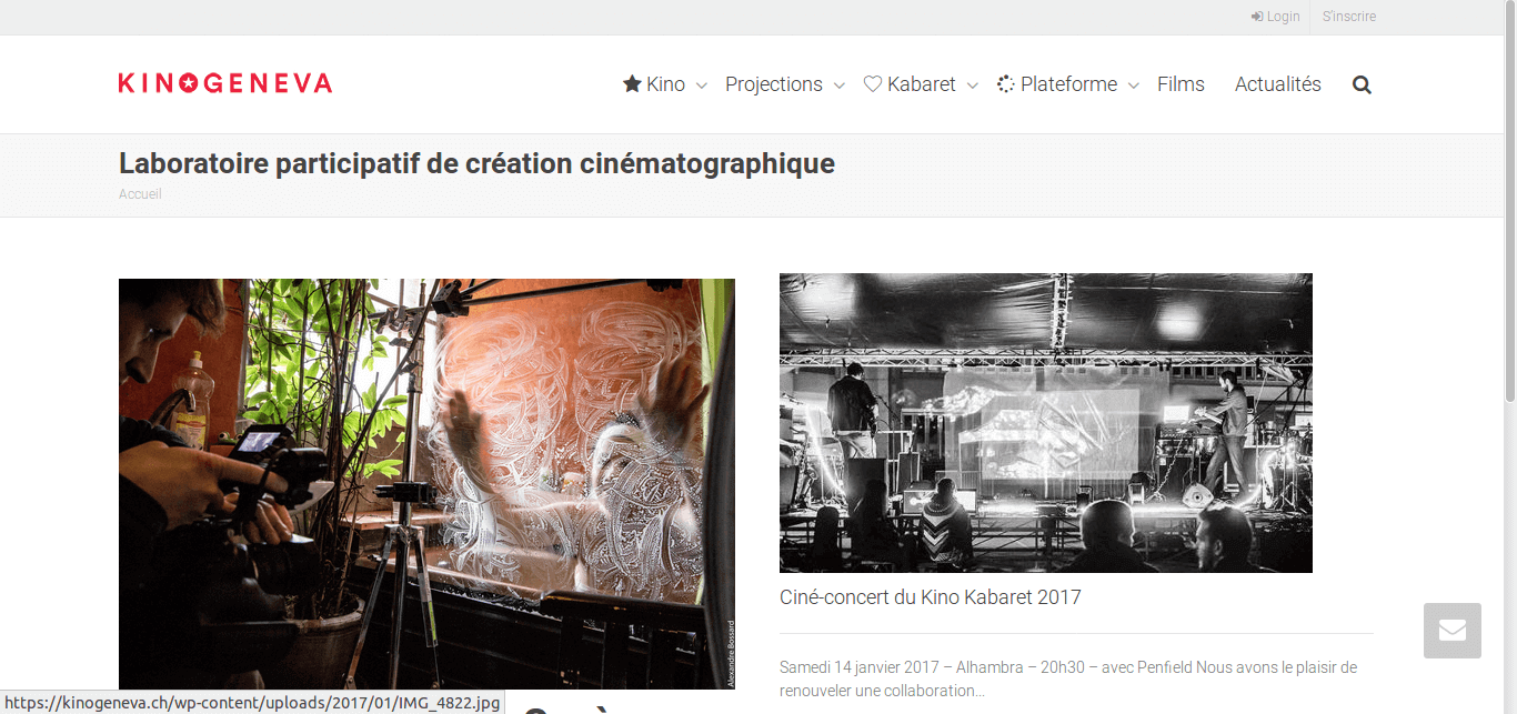 KinoGeneva - site web sous Wordpress - interventions eTisse.ch
