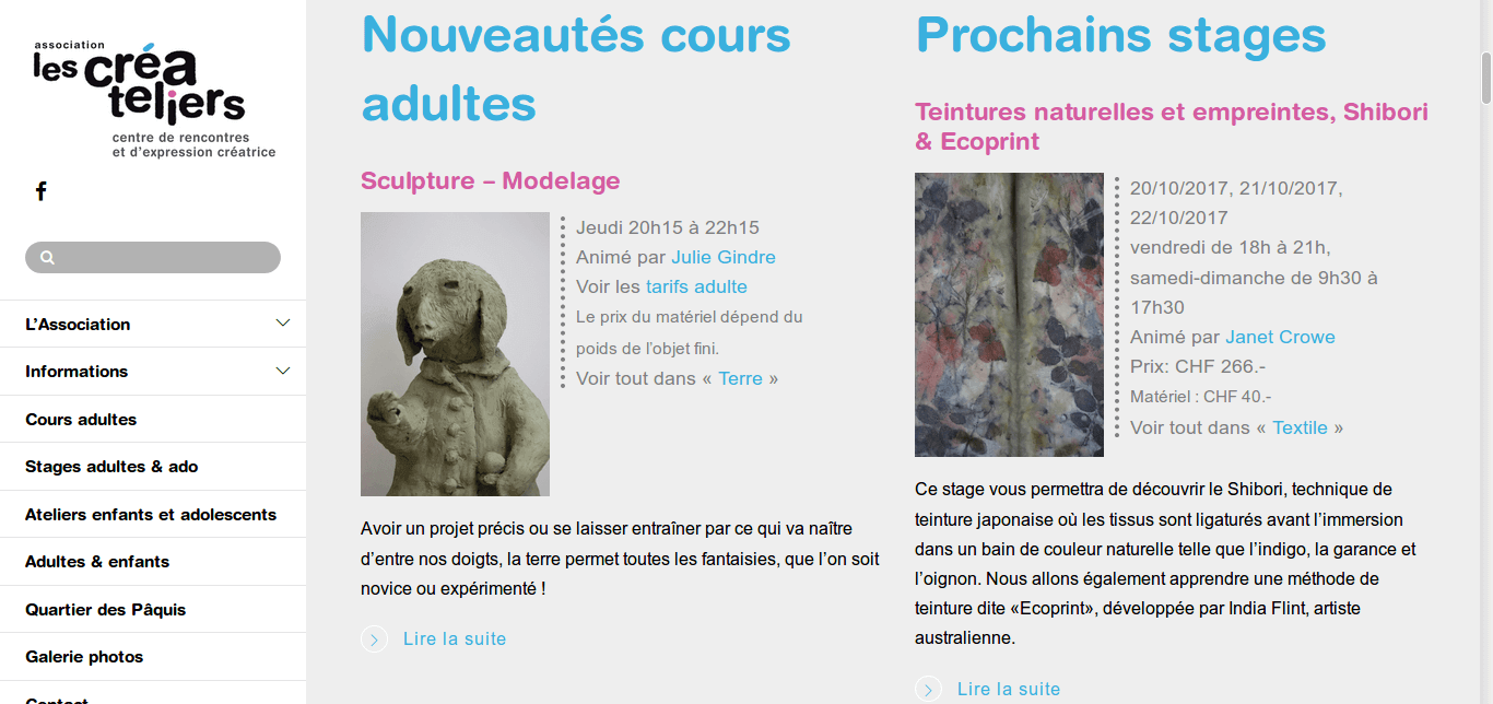 Les Créateliers - site web sous Wordpress mis en place par eTisse.ch