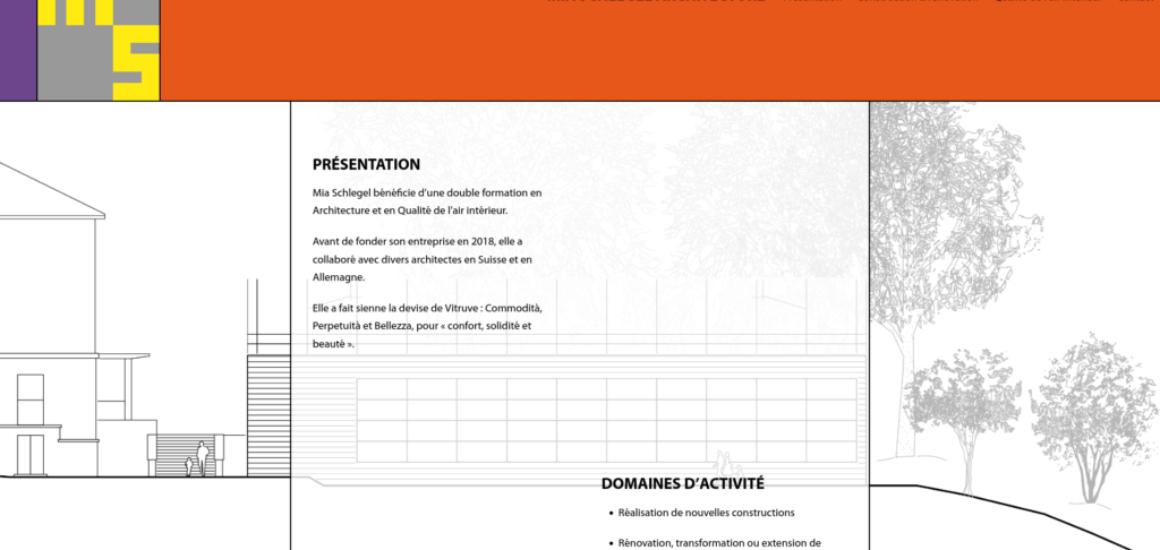 Mia Schlegel Architecture - Mia Schlegel Architecture - mise en place d'un site internet WordPress, etisse.ch - Genève
