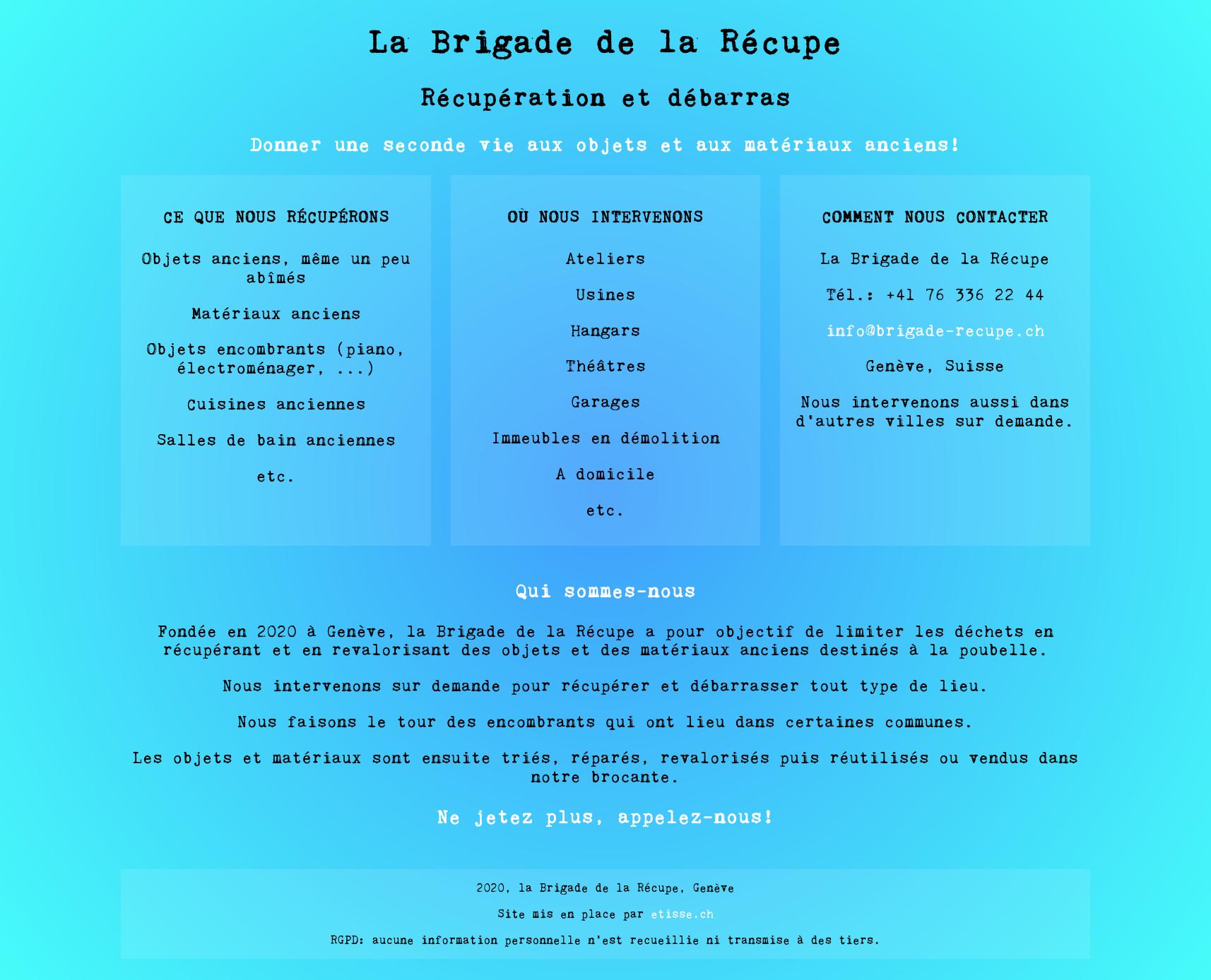 La Brigade de la Récupe - site Internet HTML/CSS, etisse.ch, Webmaster, Genève