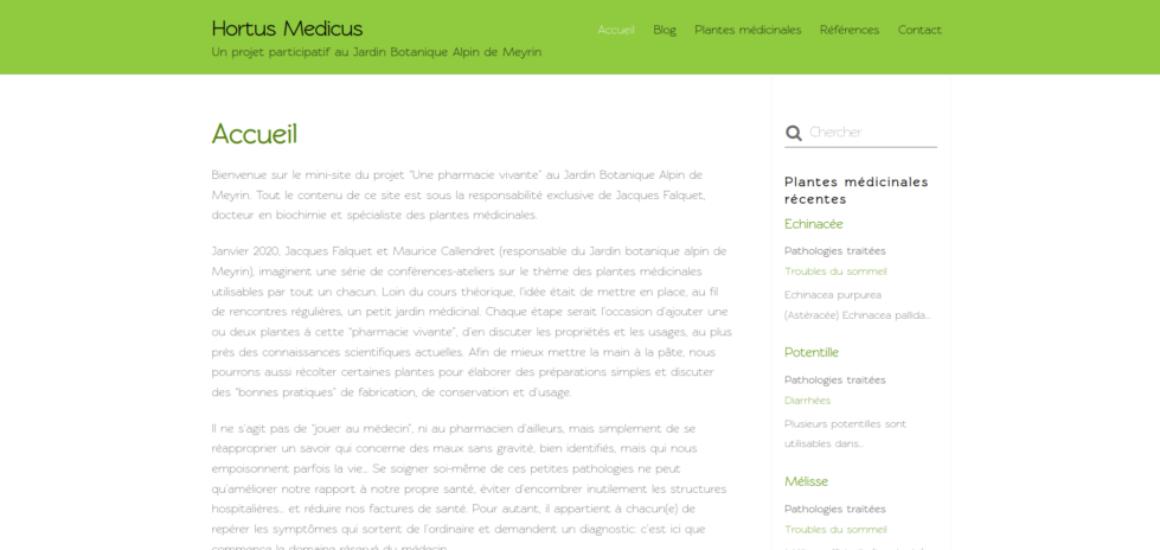 Hortus Medicus - création de site Internet avec WordPress - etisse.ch, Genpve