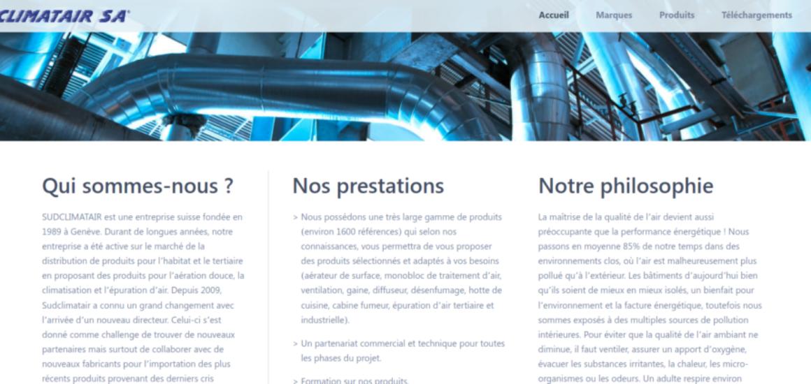 Sudclimatair - refonte site internet avec WordPress - etisse.ch, création de site web, Genève