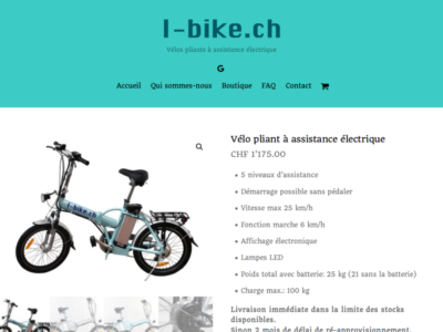 Vélo pliant à assistance électrique - I-bike ch - site internet sous Wordpress mis en place par eTisse.ch