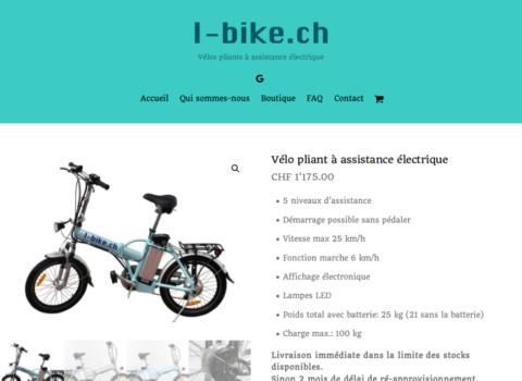 Vélo pliant à assistance électrique - I-bike ch - site internet sous Wordpress mis en place par eTisse.ch