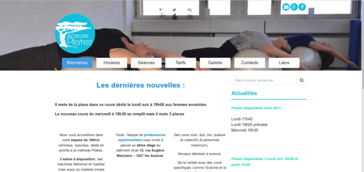 acacias-pilates - site web sous Wordpress - interventions eTisse.ch