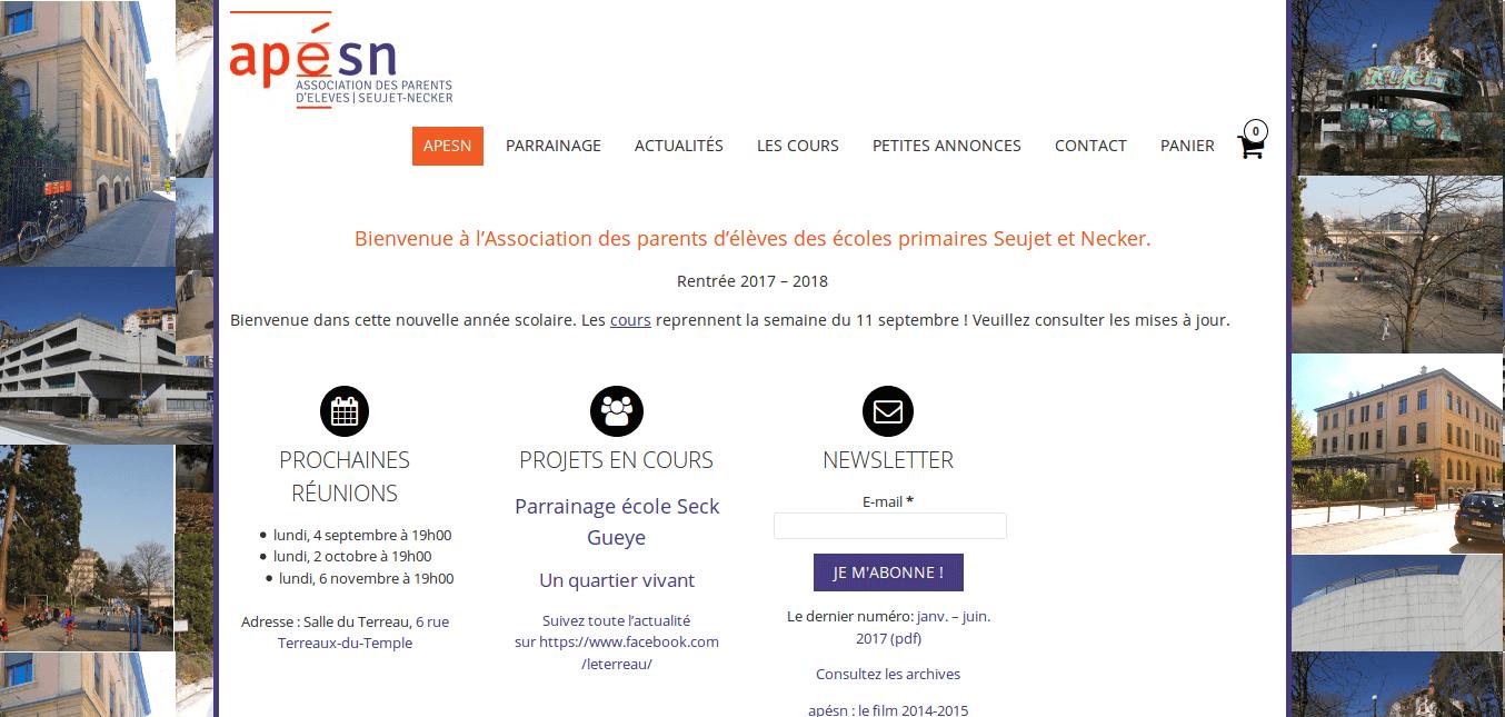 apésn - site web sous Wordpress mis en place par eTisse.ch