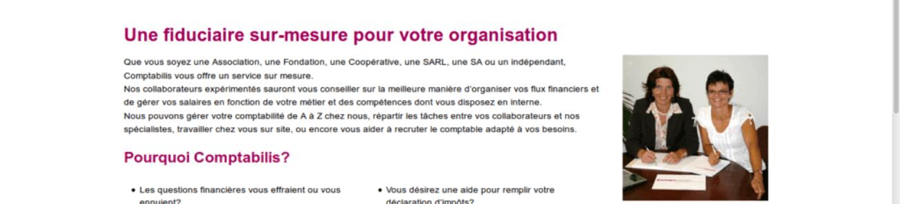 comptabilis - site web sous Wordpress mis en place par eTisse.ch